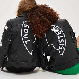 "TOPSHOP ""soul sisters"" moto jacket"